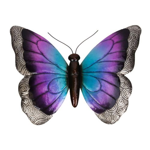 Metal Purple Butterfly Garden and Home Ornament Wall Hanging Sculpture
